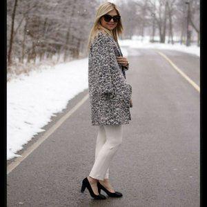 $378 Ann Taylor Snow Leopard Wool Coat & Skirt